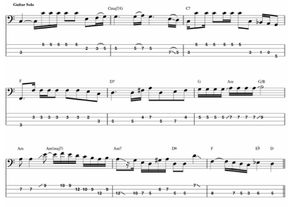 something beatles bass guitar transcription
