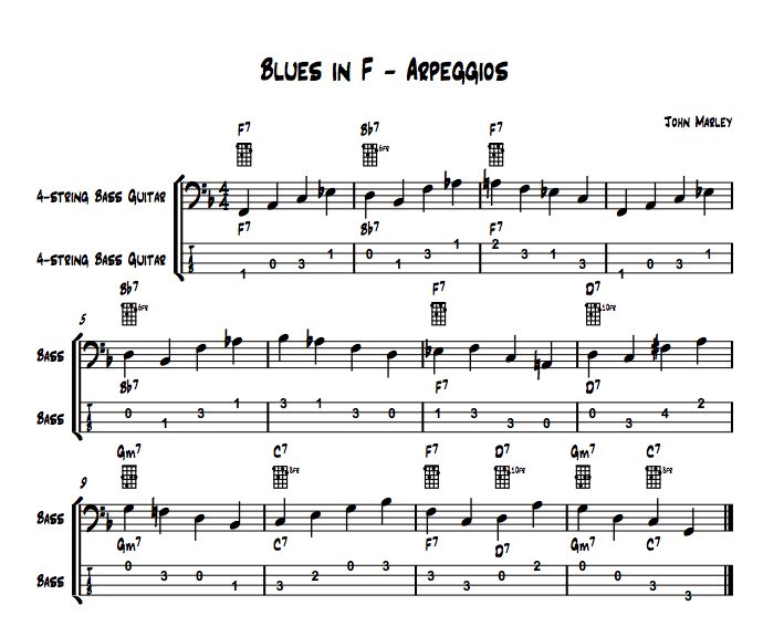 Playing Jazz Bass: Arpeggios, Passing Notes and Chords example 1 john marley