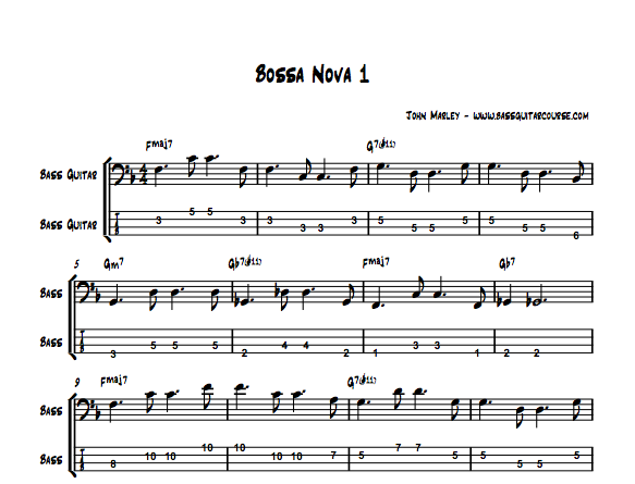 Guitar bossa nova guitar tabs : Playing Jazz Bass: Learning Bossa Nova Bass Lines