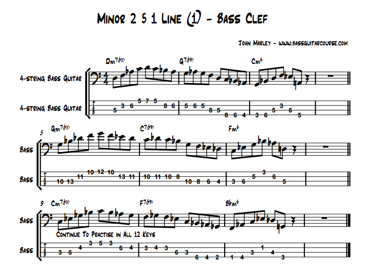 Minor 2 5 1 Line Bass Clef jazz bass soloing john marley
