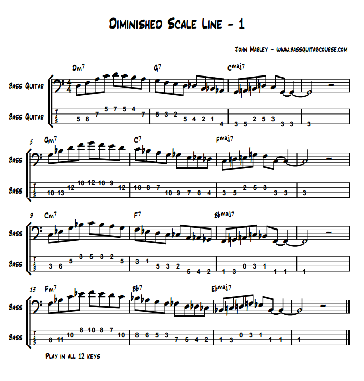 diminished scale line 1 john marley bass guitar course jazz soloing lesson part 3