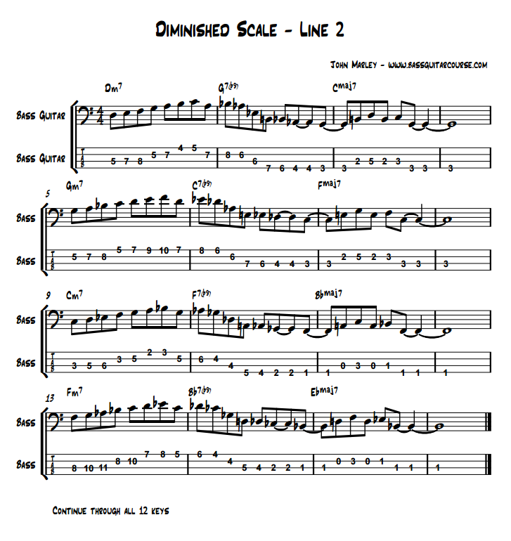 diminished scale line 2 john marley bass guitar course jazz soloing lesson part 3