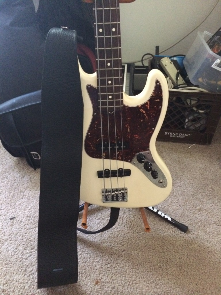 italia leather strap black on bass example